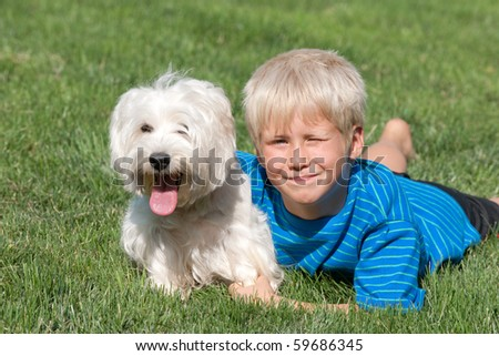 A lying on the grass smiling boy is hugging his white dog