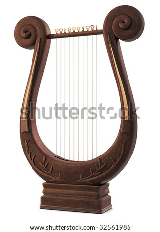 A Lyre Musical Instrument on white