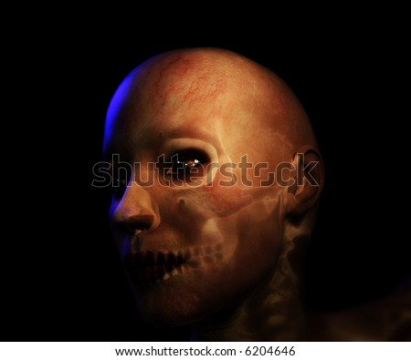 A macabre illustration of an evil zombie type character. - stock photo
