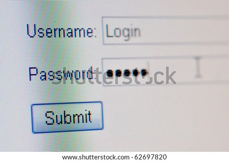 A macro closeup of a computer screen with a username text box,  password text box and submit button. - stock photo