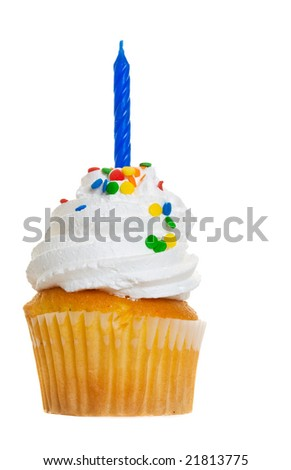 A macro of a cup cake on a white background with a candle