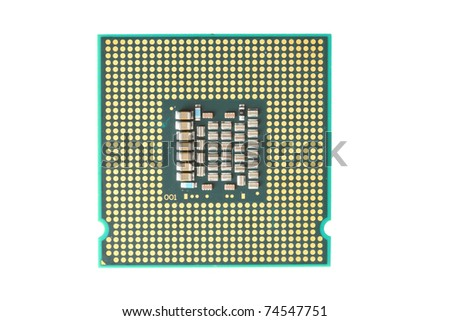A macro photo of a computer's processor detail - stock photo
