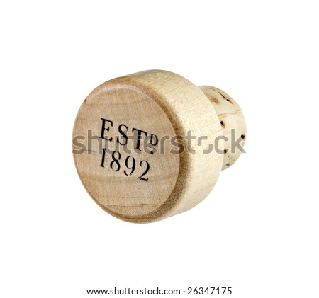A macro photograph of a wood and cork bottle stopper isolated on white.