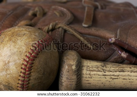 a macro picture of a baseball - stock photo