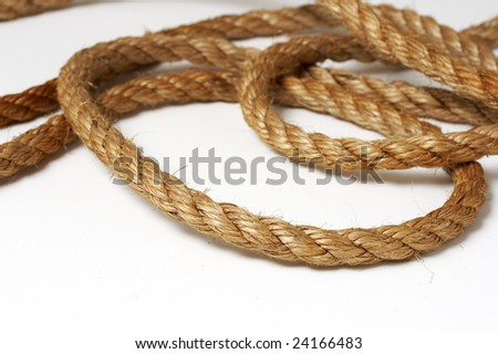 a macro picture of a rope on white