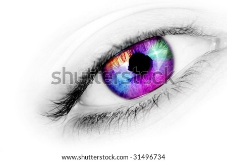 A macro shot of an eye with a multicolored iris. - stock photo