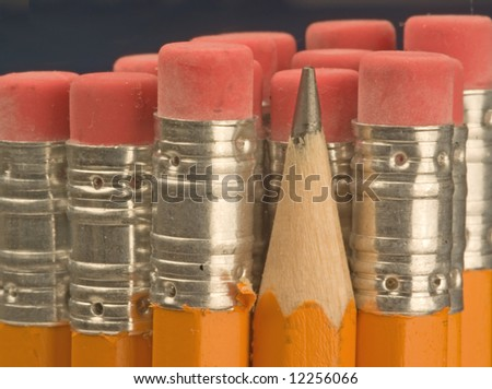 a macro shot of pencils on a black background