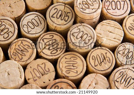 a macro shot of some wine corks
