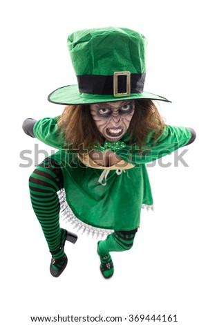 a madly leprechaun, isolated on white, concept st. patrick´s day or halloween