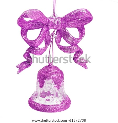 a magenta bow with bell on white