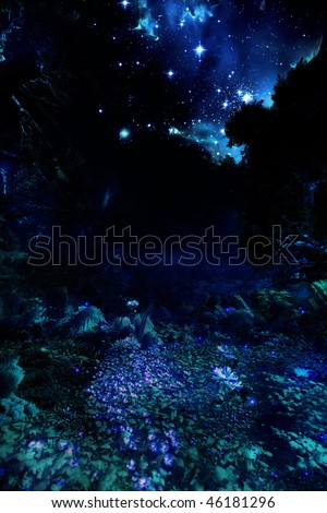 A Magical forest illuminated by its plants with a beautiful view of the stars - stock photo