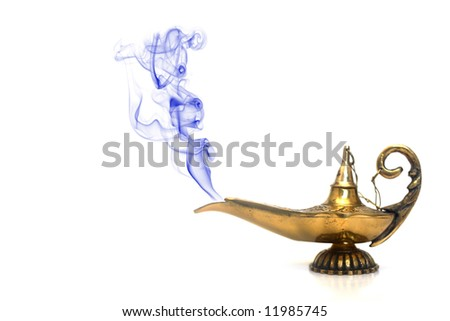 A magical genie lamp with smoke. - stock photo
