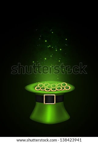 A magical St. Patrick�´s Day illustration: Green top hat full with golden shamrock coins which are sparkling on a black background.