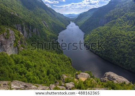 A magnificent view of Lower Ausable Lake from the Indian Head Lookout in the high peaks region of the Adirondack Mountains of New York.