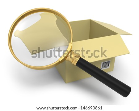 A magnifying glass/ a package box/ magnify - stock photo