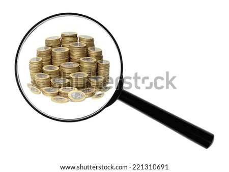 A magnifying glass against white background increases Euro-coins.