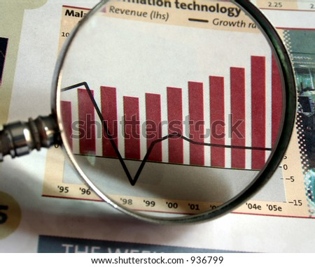 A magnifying glass focusing on a chart in the business section of the newspaper. - stock photo