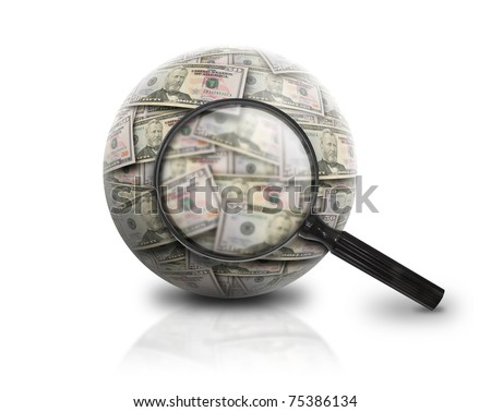 A magnifying glass is looking at a ball of American money on a white isolated background. Use it for a banking, finance or investment concept. - stock photo