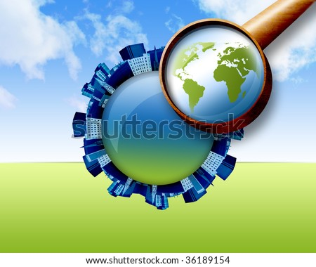 A magnifying glass is looking down at the earth and there are city buildings shaped in a circular pattern going around it. There are clouds in the sky. Can represent the search for a house. - stock photo