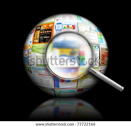 A magnifying Glass is searching the internet and there are different website templates in a 3D Ball on a black background. Use it for a research or optimization concept.