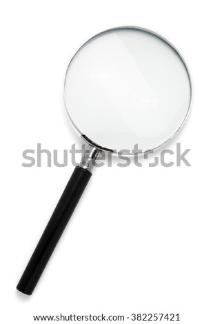 A magnifying glass with a black handle isolated on white background - stock photo