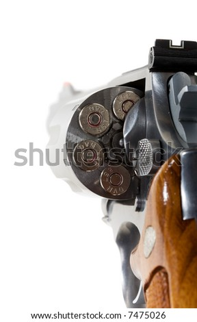 A 357 magnum revolver  isolated on white