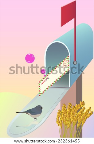 A mailbox with a bird and an airmail envelope on a sky background. Bubbles airmail envelope. - stock photo