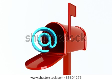 a mailbox with empty mail isolated on white - stock photo