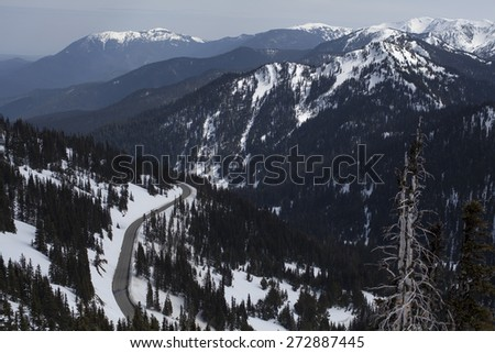 A Majestic Mountain Road With Large Range of Peaks in the Olympic Rain Forest - stock photo