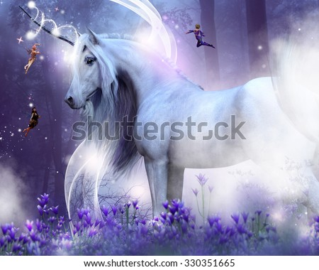 A majestic unicorn with three little fairies sending magic sparkles. They are surrounded by a purple field of flowers and forest.