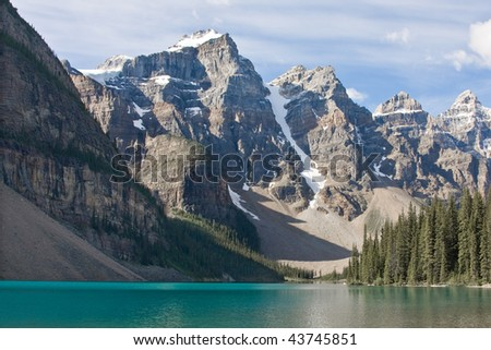 A majestic view over Moraine Lake, Banff National Park, Canada. - stock photo