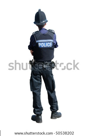 A male British police officer in uniform, isolated on a pure white background - stock photo