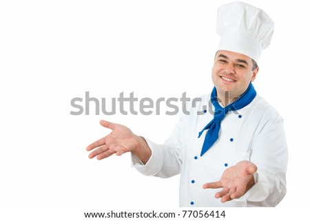 A male chef isolated over white