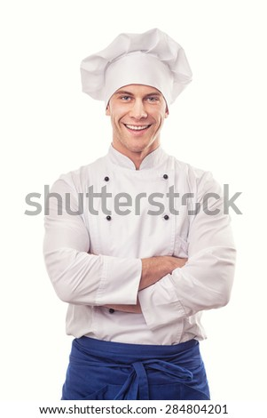 A male chef isolated over white background - stock photo