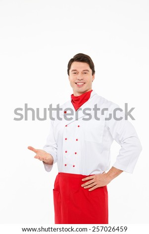 A male chef isolated white background - stock photo