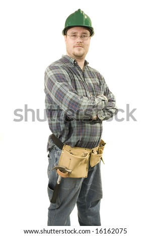 A male construction worker isolated on white background - stock photo