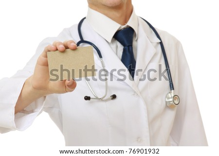 A male doctor showing a blank card