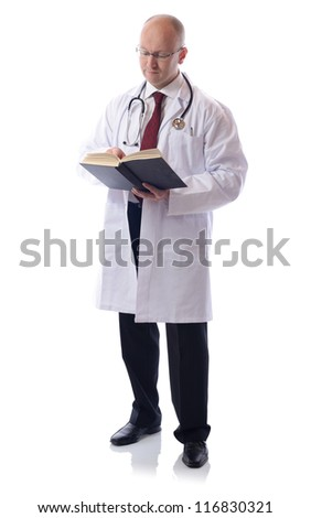 A male doctor with a book, isolated on white background - stock photo