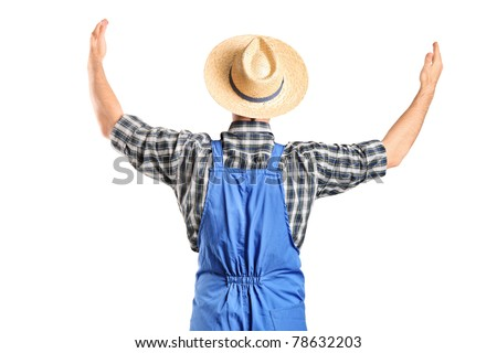 A male farmer gesturing with raised hands isolated on white background - stock photo