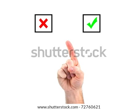 A male hand choosing yes or no - stock photo