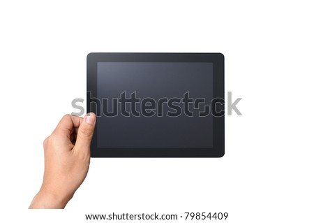 a male hand holding a touchpad pc, isolated on white - stock photo