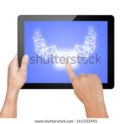 a male hand holding a touchpad pc, one finger touches e-mail symbol, isolated on white - stock photo