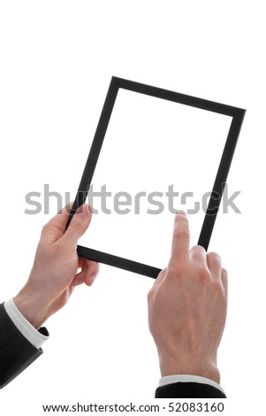 a male hand holding a touchpad pc, one finger touches the screen, isolated on white - stock photo