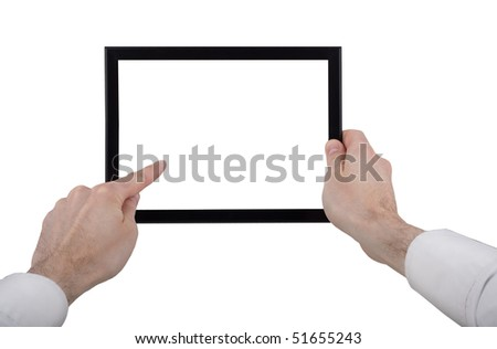 a male hand holding a touchpad pc, one finger touches the touchpad, isolated on white