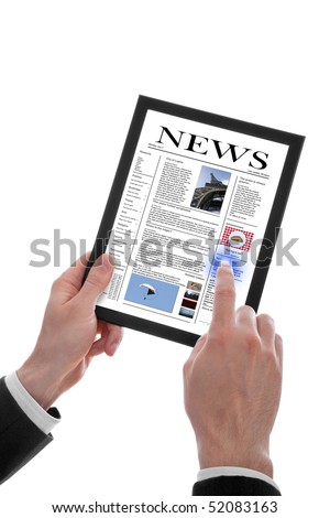 a male hand holding a touchpad pc showing a newspaper, isolated on white