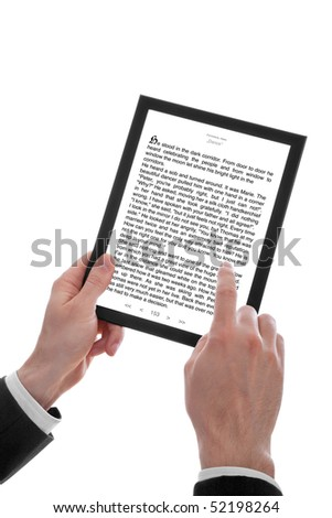 a male hand holding a touchpad pc showing an E-Book, isolated on white - stock photo