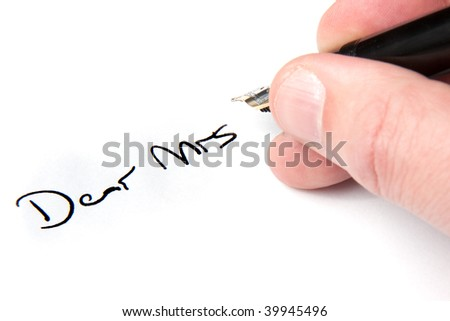 A male hand writing a letter to a woman.