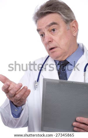 A male, mature doctor wearing a lab coat, and with a clipboard and a stethoscope.