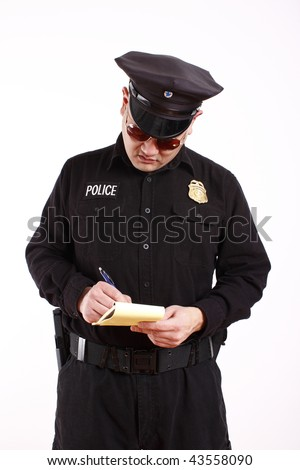 A male police officer writing a citation.