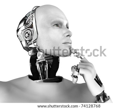 A male robot thinking about something. Isolated on white background.